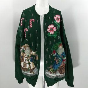 Vintage Handmade Painted Christmas Sweatshirt XL
